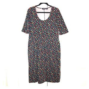 Navy dress with sweet tiny red rose floral print